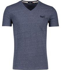 superdry t-shirt v-hals navy gemeleerd