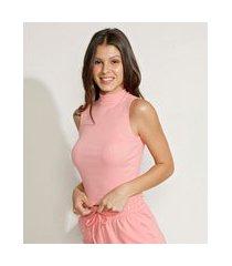 regata feminina básica cropped canelada gola alta rosa