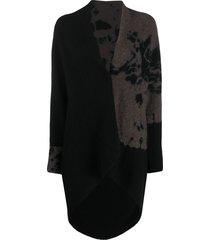 suzusan oversized tie-dye effect cardigan - black