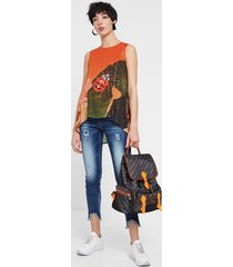 floral blouse - red - l