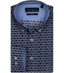 bos bright blue lange mouw casual overhemd 207670/339
