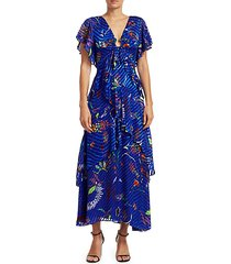 janelle printed tiered stretch-silk maxi dress