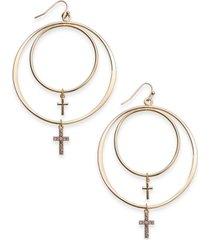 "thalia sodi extra large 2.25"" gold-tone crystal cross double hoop drop earrings, created for macy's"