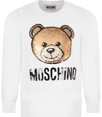 moschino white sweatshirt for girl with sequined teddy bear