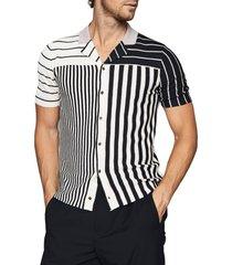 men's reiss orso short sleeve knit linen blend button-up camp shirt