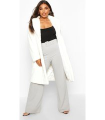 plus supersoft faux fur midi length coat, white