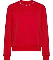 ck logo trim neck cn sweat-shirt trui rood calvin klein jeans