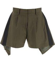 sacai asymmetrical shorts