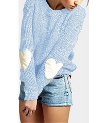 sky blue round neck love patchwork sweater