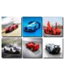 kit quadro de 6 peças de carros veloz 30x30
