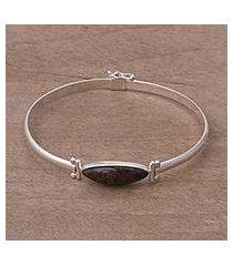 mahogany obsidian pendant bracelet, 'fantastic eye' (peru)