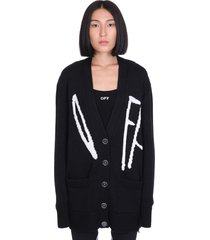 off-white cardigan in black wool