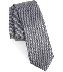 men's ted baker london solid skinny silk tie, size regular - grey