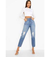mom jeans met hoge taille en gescheurde knieën, mid blue