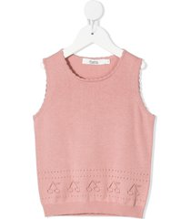 bonpoint cherry stitch sleeveless vest - pink