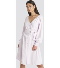 karo kauer x na-kd v-neck balloon sleeve dress - purple