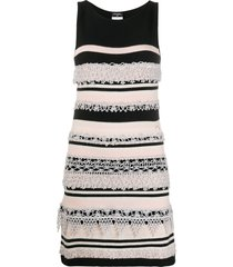 chanel pre-owned crochet appliqué knitted dress - black