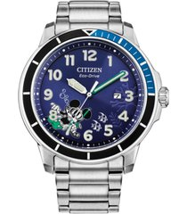 citizen eco-drive men's mickey mouse water sport stainless steel bracelet watch 46mm