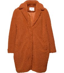 mteddy, l/s, coat outerwear faux fur orange zizzi