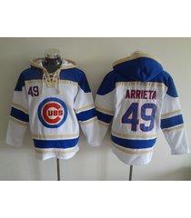 chicago cubs 49 jake arrieta baseball hooded sweatshirt jersey
