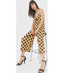 macacã£o amber pantacourt poã¡ amarelo/preto - amarelo - feminino - poliã©ster - dafiti