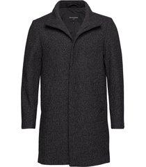 harvey structured wool wollen jas lange jas zwart matinique