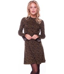 colourful rebel robbie leopard a-line jacquard dress army