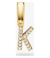 ciondolo alphabet in argento sterling placcato oro 14k con pave
