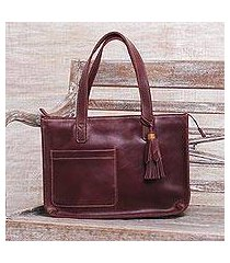 leather tote bag, 'city lines' (indonesia)