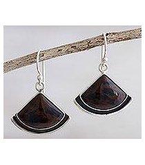 mahogany obsidian dangle earrings, 'expression' (peru)