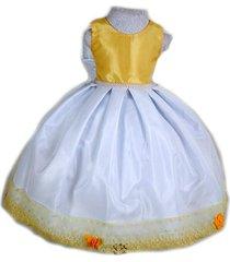 vestido liminha doce amarelo e branco para festa