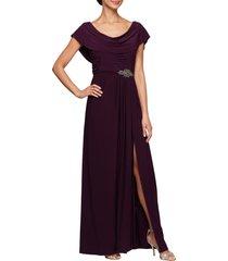 women's alex evenings cowl neck beaded waist gown, size 8 - purple