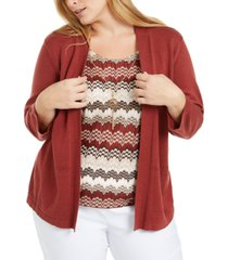 alfred dunner plus size cedar canyon layered-look sweater