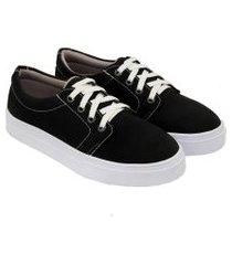 tênis sapatênis feminino casual solado borracha confortável preto 40