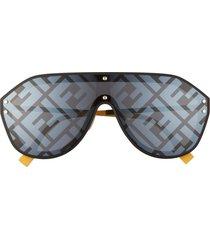 women's fendi 147mm logo lens shield sunglasses - black yellow grey mirror grad