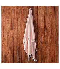 cotton beach towel, 'fresh relaxation in blush' (guatemala)