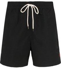 polo ralph lauren short de natação com logo bordado - preto