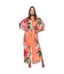 kaftan 101 resort wear saída longo crepe estampado floral fundo laranja