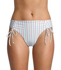 striped front-tie bikini bottom