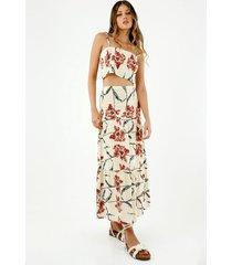falda larga de mujer, silueta amplia, de tiro alto con estampado de flores