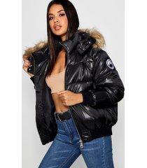 gewatteerde cire jas met faux fur zoom, zwart