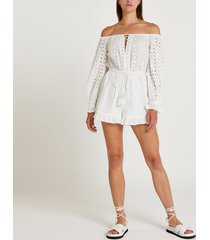 river island womens white broderie playsuit