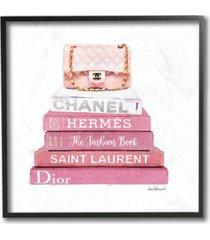 "stupell industries pink book stack fashion handbag framed giclee art, 12"" x 12"""