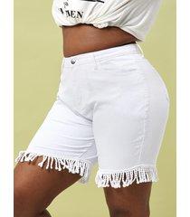 braided fringes denim plus size bermuda shorts