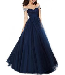 long prom dresses navy blue tulle formal evening gown party dress off shouler