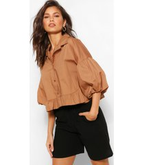 statement sleeve peplum hem shirt, stone