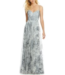 women's after six tulle column gown, size 16 - grey