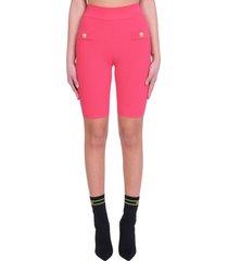 balmain shorts in fuxia cotton