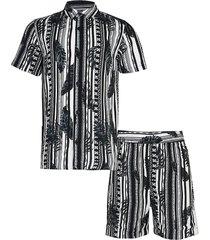 river island boys black stripe chain leaf shirt outfit