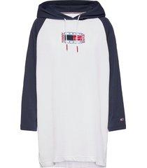 tjw timeless flag hoodie dress kort klänning vit tommy jeans